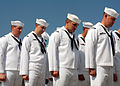 US Navy 080908-N-7668G-110 Crewmembers of the Virginia class attack submarine USS North Carolina (SSN 777) bow their heads in prayer during the North Carolina change of command ceremony at Naval Station Norfolk.jpg