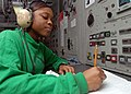 US Navy 081130-N-2456S-066 Aviation Boatswain's Mate (Equipment) Airman Ariell Ward logs aircraft that have been launched.jpg