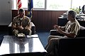 US Navy 090707-N-9818V-017 Master Chief Petty Officer of the Navy (MCPON) Rick West has an office call with Capt. Eric Gardner, commanding officer of Naval Air Facility Atsugi, Japan.jpg