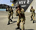 US Navy 100510-N-9643W-557 embers of the Jamaica Defense Force participate in the practical portion of the Marine Corps Martial Arts exchange with Marines embarked aboard Swift (HSV 2).jpg