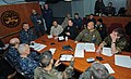 US Navy 110321-N-AQ172-009 Liaison officers from coalition countries meet with Joint Task Force Odyssey Dawn staff members aboard the amphibious co.jpg