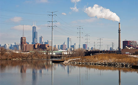 View from the U.S. Turning Basin towards the Chicago Loop US Turning Basin 20110227.jpg