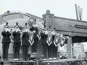 1953 Rose Bowl - UW Marching Band heading to the Rose Bowl