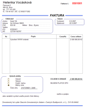 Example of invoice in Czech.