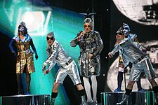 Verka Serduchka with her ensemble in the Eurovision Song Contest 2007.