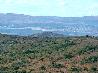Battle of Gqokli Hill - Gqokli hill seen from eMakhosini, with Ulundi in the background