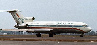 United Airlines - United Boeing 727-200 in the Stars and Bars Friend Ship livery at Los Angeles International Airport in August 1974
