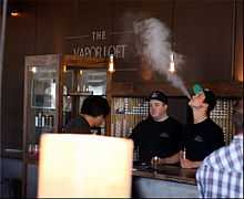 Interior view of a vape shop in Orange, California, Unites States.