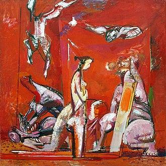 Neo-expressionism -  Vasiliy Ryabchenko, Red room I, 1989