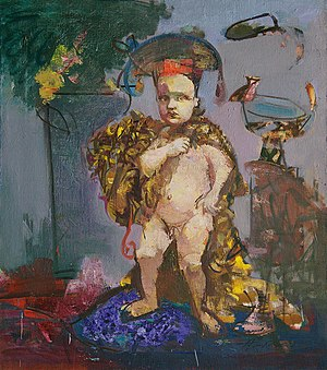 "Vasiliy Ryabchenko - Image: Vasiliy Ryabchenko. ""Samson"". From the ""Heroic babies"" series, 80 х 60 cm, oil on canvas, 1989"