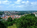 Look over the Velké Meziříčí town in CZ from D1 highway, running over hill near the city