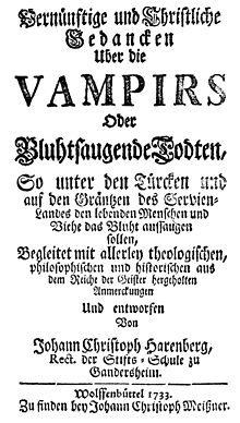 Portada de un libro alemán de 1733 sobre vampiros. 031443451b987