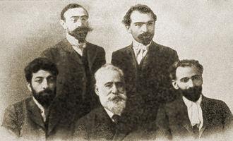 Ghazaros Aghayan - Vernatun members in 1903. Isahakyan, Aghayan, Hovhannes Tumanyan (sitting) and Shant, Demirchian (standing).