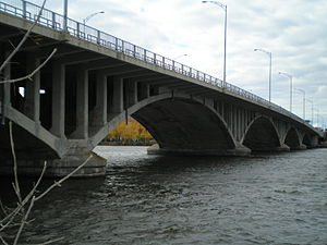 Viau Bridge - Viau Bridge, seen from a bike trail in Montreal, Quebec.