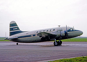 Court Line - Autair Vickers Viking freighter at Amsterdam in March 1967