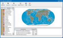 Screenshot of computer program showing computer locations on a world map.