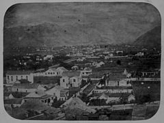 View of Honolulu from steeple of Fort Street Church, looking up Nuuanu Valley, c. 1853.jpg