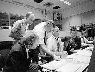 Vance D. Brand - Brand (standing right) during Apollo 13 crisis (April 1970)