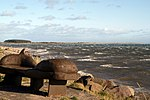 View of rough seas and lighthouses at Buddon Ness Photo taken from recreation area near Monifieth Sands.