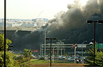 View of the Pentagon from the Navy Annex minutes after a hijacked jetliner crashed into building at approximately 0930 on September 11, 2001 010911-M-CI426-009.jpg