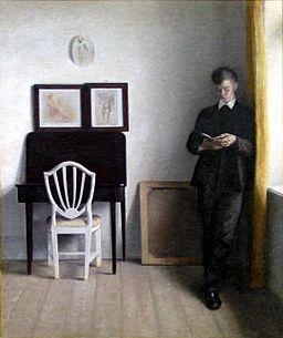 Vilhelm Hammershøi 1898 - Interiør med læsende ung mand