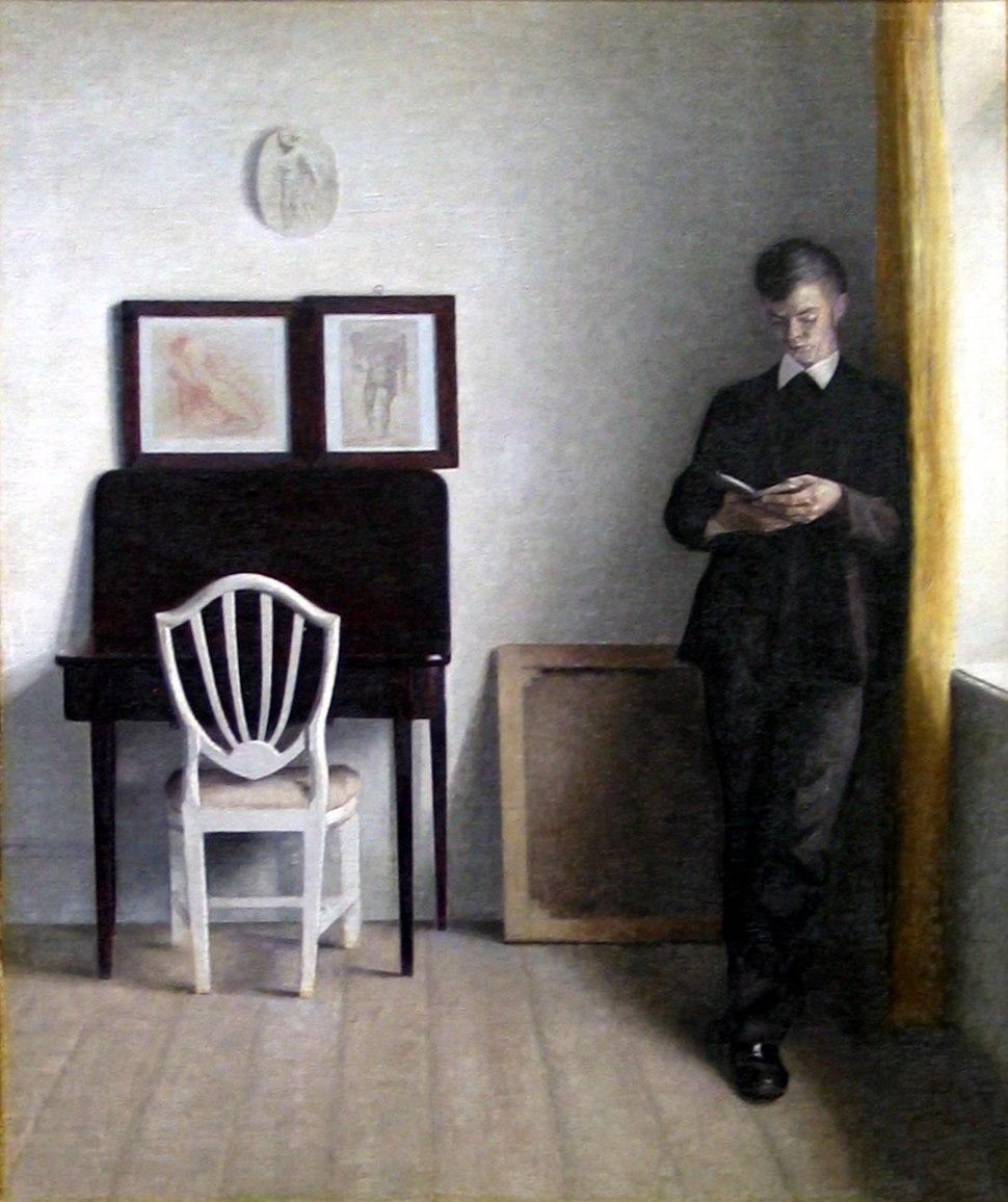 Vilhelm Hammersh%C3%B8i 1898 - Interi%C3%B8r med l%C3%A6sende ung mand