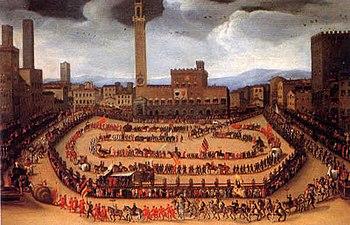 Français : Le défilé des Contrade du 15 août 1546.