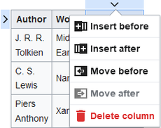 Screenshot showing how to add or remove columns from a table