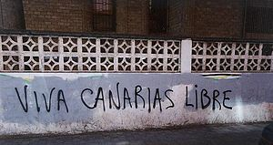 "Canarian nationalism - ""Long Live Free Canary Islands.""  Graffiti in San Cristóbal de La Laguna, Tenerife, 1999."