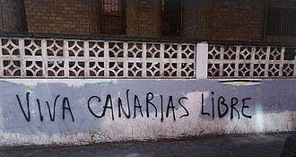 "Canarian nationalism - ""Long Live Free Canary Islands.""  Graffiti in San Cristóbal de La Laguna, Tenerife, 1999."