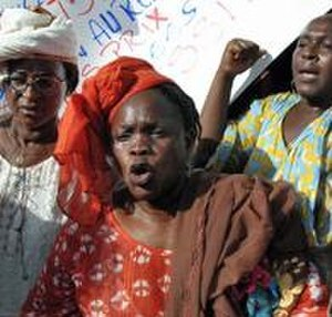 Trade unions in Senegal - Women march at a Trade Union rally in 2007 in Dakar, protesting price rises.