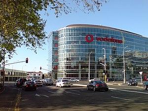 The Vodafone building on Fanshawe Street, corn...