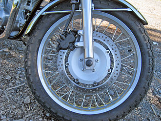Disc brake - Floating disc brake on Kawasaki W800