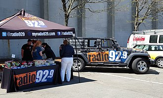 WBOS - The Radio 92.9 street team in Cambridge, Massachusetts sampling products from Whole Foods Market.