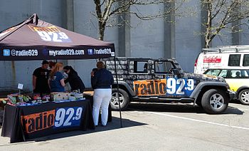 The Radio 92.9 in Cambridge, Massachusetts sampling products from Whole Foods Market.