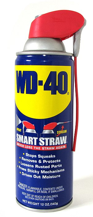 WD-40 lubricant with straw for easy-spray.