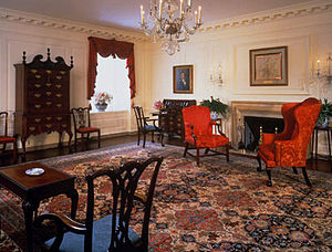 Map Room (White House) - The Map Room looking southwest during the administration of Bill Clinton