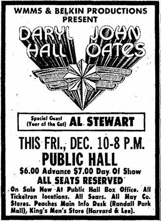 Hall & Oates - Ad for Belkin Productions, Cleveland Public Hall, WMMS Radio in The Plain Dealer Newspaper on December 5, 1976