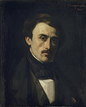 Painted portrait of Paul Émile Botta looking at the artist.