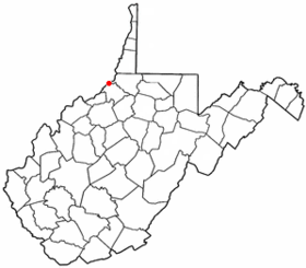 Location of Paden City, West Virginia