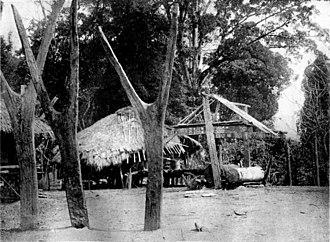 Wa States - A Wa Khaox Si Gang y-shaped post where the ceremonial sacrifice of a buffalo was performed in special occasions