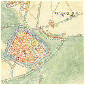 History of Wageningen - Wageningen in 1575, by Jacob van Deventer