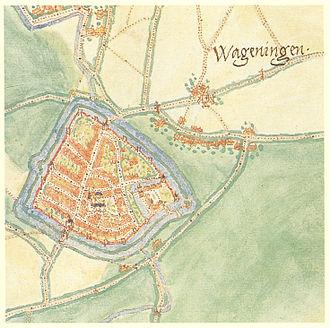 History of Wageningen - Wageningen in 1575, by Jacob van Deventer