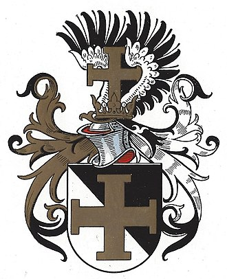 Cross potent - Use of the cross potent as a charge in modern heraldry: Coat of arms of the Wingolf Christian student fraternity (1931).