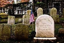 Washington Irving's headstone, Sleepy Hollow Cemetery, Sleepy Hollow, New York (Source: Wikimedia)