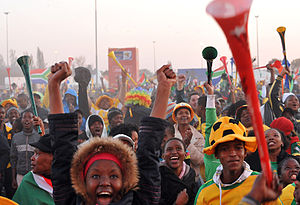 2010 FIFA World Cup - Supporters watching the 2010 FIFA World Cup in South Africa, with vuvuzelas.