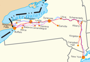 "Map of the ""Water Level Routes"" of the New York Central Railroad (purple), West Shore Railroad (red) and Erie Canal (blue)"