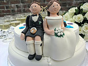 Not all wedding cakes are traditional - this is a novelty wedding cake depicting the newly married couple.