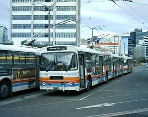 Trolleybuses in Wellington - Volvo trolleybuses at Wellington Railway Station