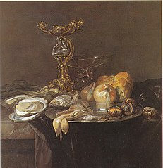 Still life with Orpheus salt cellar, fish, onions, bread, chestnuts and oysters, ca. 1680